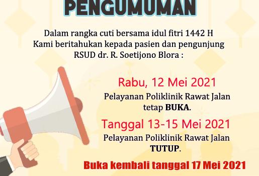 Pengumuman Pelayanan Poliklinik